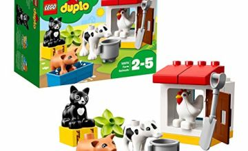 LEGO 10870 DUPLO Town Farm Animals Building Bricks Educational Set with Black Cat Figure, Toy for Kids Age 2-5