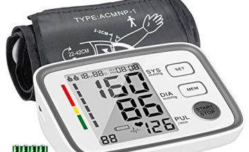 ATMOKO Blood Pressure Monitor, Blood Pressure Machine for Upper Arm with 2 Users, 180 Readings Memory, Accurate Digital BP Meter Pulse Rate Monitor with Large Display, 22-42cm Adjustable Cuff