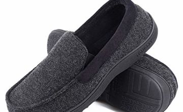 LongBay Men's Comfort Memory Foam Moccasin Slippers Breathable Soft Fleece Slipper with Indoor Outdoor House Shoes
