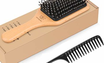 Hair Brush Boar Bristle Hairbrush for Thick Curly Thin Long Short Wet or Dry Hair Adds Shine and Makes Hair Smooth, Best Paddle Hair Brushes and Comb Set for Men Women Kids