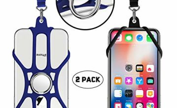 UKON 2 Pack Silicone Phone Lanyardwith Detachable Neck Strap and Phone Finger Ring Stand for 4.7-6.5 inch Mobile Phone Compatible with iPhone 11,X,8,7,6S,7plus,Galaxy, Huawei