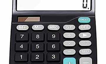 Calculator, Basic Calculator, Destop Calculator, with 12 Digit, LCD Display, Large Button, Solar Calculator (Battery Included) (Black)