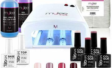 Nail Gel Polish Kit 4 MYGEL Colours Top Base Coat UV Lamp Starter Kit Mylee prep + wipe remover