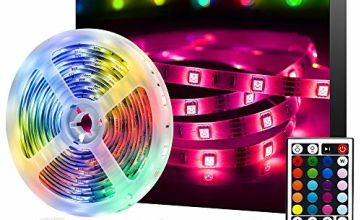 LED Strip Lights, Ksipze 5m RGB LED Light Strip with Remote Colour Changing SMD 5050 LED Room Lights for TV Kitchen Bar Home Party Christmas Decoration, Bright LEDs, Strong Adhesive
