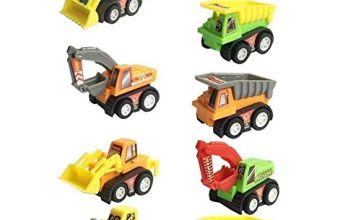 Fajiabao 9 Pcs Mini Plastic Pull-back and Go Car Model Toy Sets Classic Construction Team Vehicle Play Push N Go Trucks Dumpers Toy for 3 Year Olds