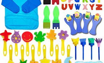 SPECOOL 56 Pcs Sponge Paint Brushes Kits, Painting Brushes Tool Kit for Kids, DIY Graffiti Painting Supplies, Waterproof Apron, Art Sets for Children
