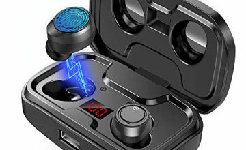 Wireless Earbuds, GRDE Headphone Bluetooth 5.0 with HD HiFi Stereo CVC8.0 Noise Canceling Bluetooth Earphone with Mic 105H Playtime LED Display 3000mAh Charging Case for iPhone Android Sports Business