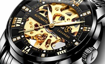 Men's Watch Black Automatic Mechanical Skeleton Watches