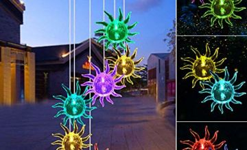 LED Solar Wind Chime Light Spiral Spinner Color Changing Garden Lamp Waterproof Outdoor Decorative Romantic for Patio Yard Garden with A Hook (Stars & Moon)