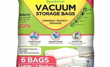 Spedalon Vacuum Storage Bags - Pack of 6 (2 Large + 2 Medium + 2 Small) ReUsable with free Hand Pump for travel packing | Best Sealer Bags for Clothes, Duvets, Bedding, Pillows, Blankets, Curtains