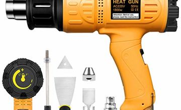 Heat Gun, SEEKONE Professional 2000W 50℃- 600℃ Variable Temperature Control Hot Air Gun Kit with 2 Temperature Modes 7 Accessories for DIY, Stripping Paint, Shrinking PVC and Home Improvement