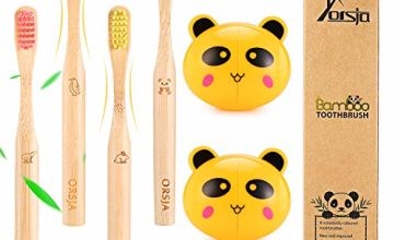 Bamboo Toothbrushes - Kids Toothbrushes, Soft Bristle Toothbrush, Biodegradable and Eco Friendly, Pack of 4 …