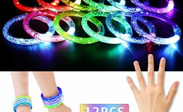 LED Light Bracelets NASUM Luminous Bracelet Glow Sticks in Mixed Colours With Batteries, for Party, Music Festival, Bars Suitable for people of All Ages (Pack of 12)