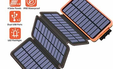 Hiluckey Solar Charger Power Bank Portable Battery Pack