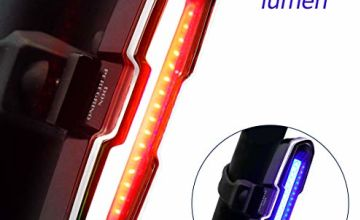 DONPEREGRINO B2-110 Lumens High Brightness Bike Rear Light Red/Blue, Powerful LED Bicycle Tail Light Rechargeable with 5 Steday/Flash Modes
