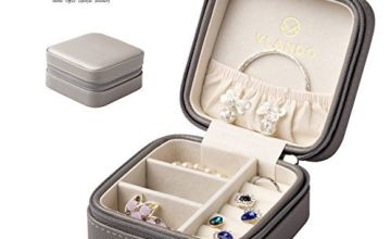 Vlando Mini Jewellery Box Organizer Faux Leather for Travel, Storage Case for Rings, Earring, Necklaces Gift for Girls Mother Women(Grey)