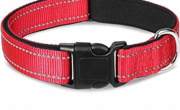 Joytale Reflective Dog Collar,Padded Breathable Soft Neoprene Nylon Pet Collar Adjustable for Small Medium Large Dogs