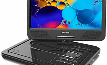 "WONNIE 2020 Upgrade 12.5"" Portable DVD Player with 10.5 inches 270° Swivel Screen Built-in Rechargeable Battery SD Card and USB, Direct Play in Formats AVI/MP3/JPEG/RMVB (12.5, Black)"