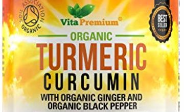 Organic Turmeric Curcumin 2130mg with Ginger and Black Pepper - 180 Vegan Capsules - High Strength Supplement - Soil Association Certified