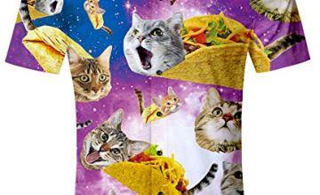 TUONROAD Hawaiian Shirt for Men Funny Cat 3D Printed Shit Shirt Mens Short Sleeve Summer Casual Shirts M-XXL