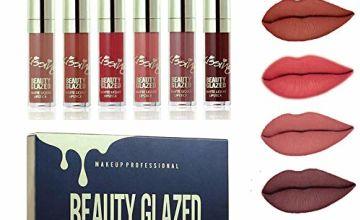 Beauty Glazed 6PCS Sexy Matte Lip Gloss, Long Lasting Liquid Lipstick Waterproof Moisturizer Professional Lips Balm Makeup