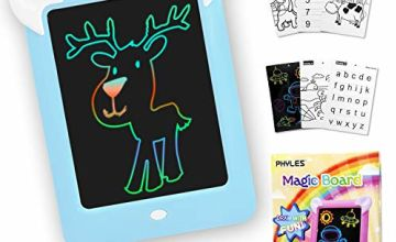 PHYLES Magic Drawing Board, Portable Writing Board, Handwriting Toys for Kids, Draw, Sketch, Art, Educational Toys and Gifts, Includes 10 Stencils, 4 Drawing Pens, 1 Cleaning Cloth