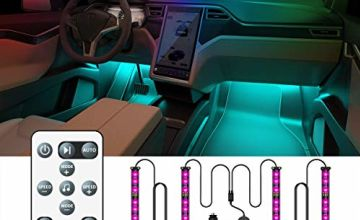 Car Interior Lights, Govee Car LED Strip Lights 48 LED Multicolour Music Sync Car Ambient Lights, Waterproof Underdash Light Kits with Sound Active Function and Simple Control, 12V