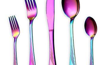 HOMQUEN 24 30 Piece Cutlery Flatware Dinnerware Set (Black, Gold, Rose Gold, Silver, Rainbow)