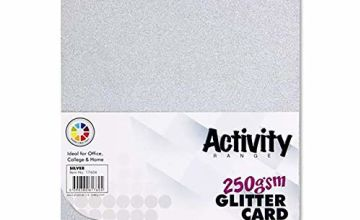 Premier Stationery W2117604 A4 250 GSM Activity Glitter Card - Silver (Pack of 10)
