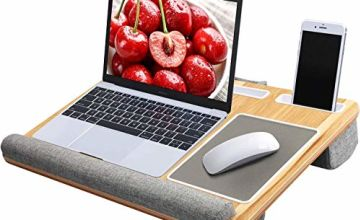 """HUANUO Laptop Tray with Cushion, Built in Mouse Pad & Wrist Pad for Notebook up to 17"""" with Tablet, Pen & Phone Holder"""