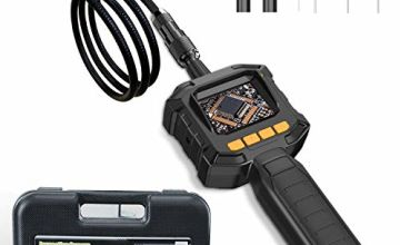 JUMPER Borescope Inspection Camera with LCD Monitor Screen, Industrial Endoscope Camera IP67 Waterproof, 4 Brightness LED Lights, 8mm Diameter for Home Use, Pipe, Car, Wall Inspection