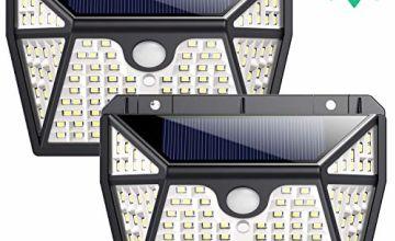 Solar Lights Outdoor【270° Five-Sided Lighting】Ekrist 118 LED Solar Security Lights Motion Sensor [2200mAh] Solar Powered Lights Wireless Wall Lights Solar Lamps with 3 Intelligent Mode (2 Pack)