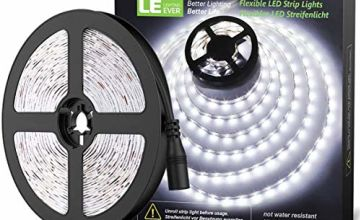 LE Daylight White LED Strip Lights 5M, 1200lm Flexible Lightstrip for Under Cabinets, Kick Boards, TV Backlight, Van and More (12V Power Supply Required)