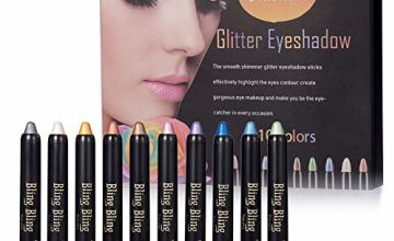 Eyeshadow Pencil, Glitter Eyeshadow, Shimmer Eyeshadow, Eyeshadow Glitter Pen, 10 Colors Glitter Eyeshadow Pencil Ultra Pigmented Makeup Eye Shadow Powder Long Lasting Waterproof
