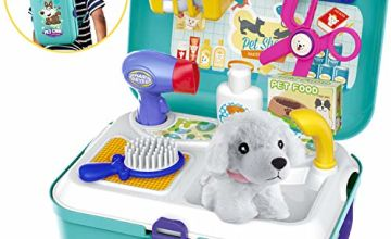 HERSITY Vet Toy Pet Care Kit Role Play Set Grooming Feeding Puppy Dog Animal Games Backpack for Kids