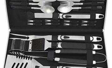 grilljoy Premium BBQ Tool Set with Aluminum Case, 25pcs Stai