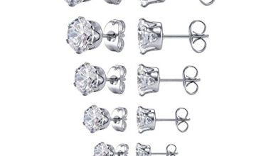 JDGEMSTONE Gift Square Cubic Zirconia Stud Earring for Women Jewellery Earrings Set Birthday Anniversary for Men Women Friend 6 Pairs Earrings Tone Earrings Stainless Steel Earrings