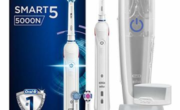 Oral-B Smart 5 5000N CrossAction Electric Toothbrush, 1 App Connected Handle, 5 Modes with Whitening, Sensitive and Gum Care, Pressure Sensor, 3 Toothbrush Heads, Plastic Travel Case, 2 Pin UK Plug