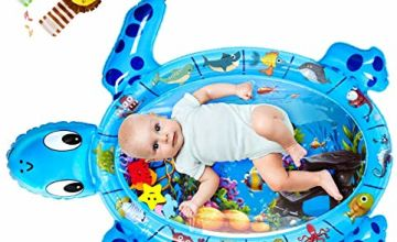 QPAU Tummy Time Mat with Wrist Rattles Toys Set, 43X36 Inch X-Large Inflatable Water Play Mat, Turtle Shape Newborn Baby Toys for 3 6 9 12 Months