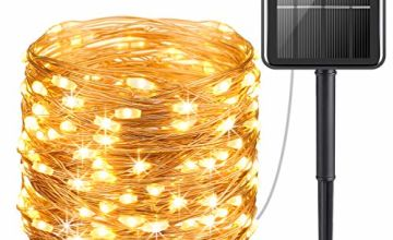 Criacr Solar Lights Outdoor, (100 LED 8 Modes) Solar String Lights, 33ft/10m Copper Wire Solar Garden Lights, Christmas Fairy Lights for Patio, Garden, Home, Wedding, Party (Warm White-Pack of 4)