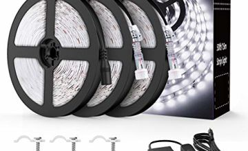 Onforu 15M 50ft LED Strip Lights Kits, IP65 Waterproof Strip Lighting, GS Listed Power Adapter with Switch,12V LED Rope, Under Cabinet Lighting Strips for Indoors and Outdoors …