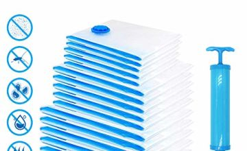 Fansteck Vacuum Storage Bags 15 Pcs, Save Space Bag with Hand Pump,Double Zip Seal and Triple-Valve, Release 80% Storage Space for Clothes Duvets Pillows Bedding Sweaters .Jumbo Large Medium Sizes