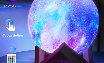 toyuugo 3D Print LED Star Moon Light Lamp Night Light for Kids, Dimmable Touch Control Brightness Light for Home Decoration and Gifts for Lovers, Parents, Friends, 16 Color 5.9 inch