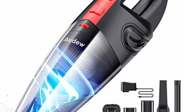Audew Handheld Vacuum Cleaner,Handheld Vacuums Cordless,Wet&Dry Vacuum,Handheld Hoover Portable with Powerful Suction for Home, Office, Pet and Car.120W Rechargeable Car Vacuum Cleaner, Black and Red.