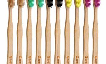 Goaycer Bamboo Toothbrushes Medium Bristles - Family 10 Pack Eco Friendly Biodegradable Organic Premium Wooden Toothbrush