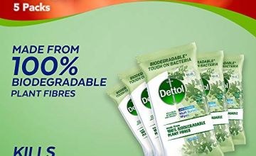Dettol Wipes Biodegradable Antibacterial Multi Surface Cleaning, 5 Packs of 90 Total 450 Wipes