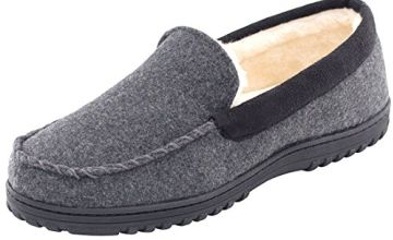 Men's Memory Foam Plush Fleece Lined Moccasin Slippers, Indoor Outdoor Wool Micro Suede Shoes