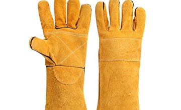 Cotton Lined And Kevlar Stitching Welders Gauntlets Riggers Wood Burners Accessories Gloves Heat Resistant Stove Fire And Barbecue Gloves Long Length Cuffs 400mm(HCT09)