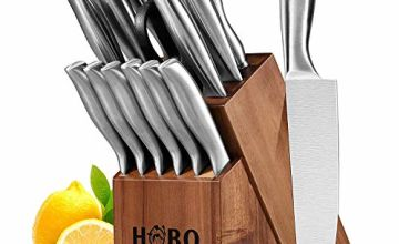 Knife Set, HOBO 14-Piece Kitchen Knife Set with Block Wooden, Self Sharpening for Chef Knife Set, Japan Stainless Steel, Boxed Knife Sets