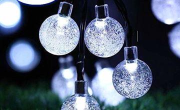 Garden Solar Lights, 24 Ft 50 LED Outdoor String Lights, Waterproof Crystal Ball Fairy Lights Solar Powered, Decorative Lighting for Home, Garden, Party, Festival [Energy Class A++]